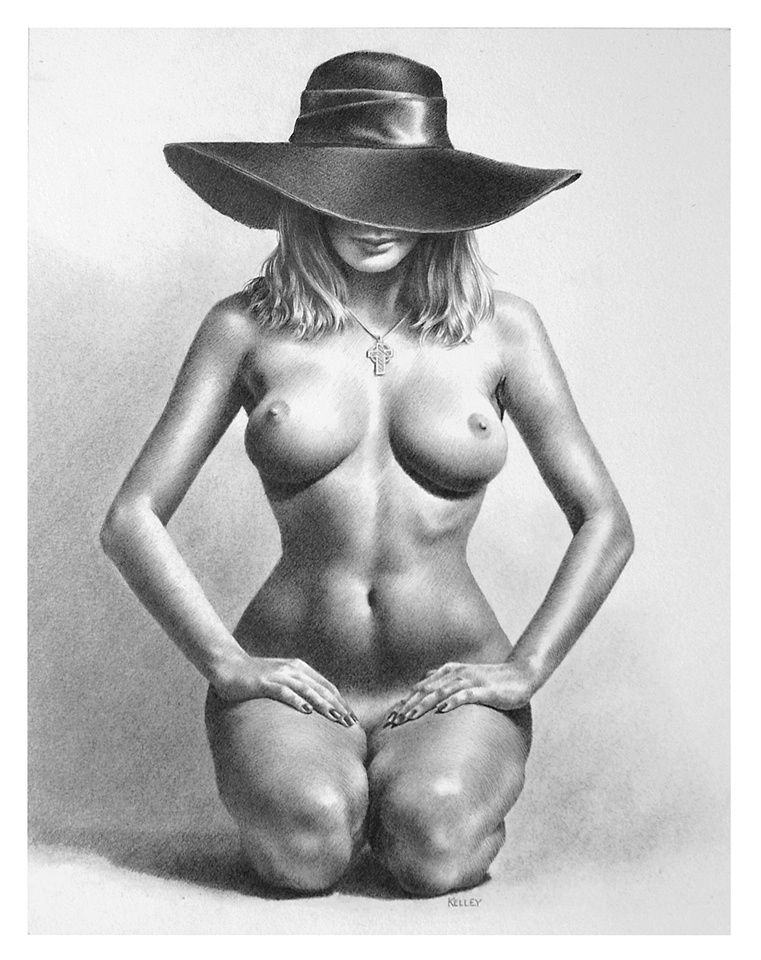 2021 Nude With Black Hat 12x9 Graphite Website